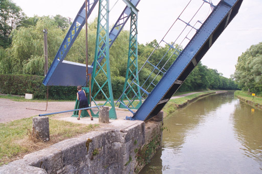 Patrick cranks up a drawbridge